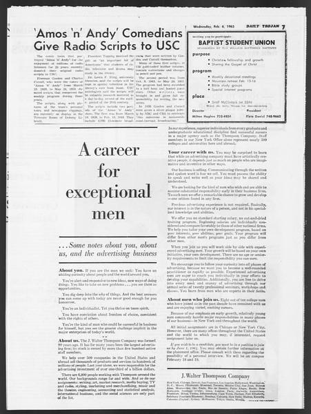 Daily Trojan, Vol. 54, No. 59, February 06, 1963