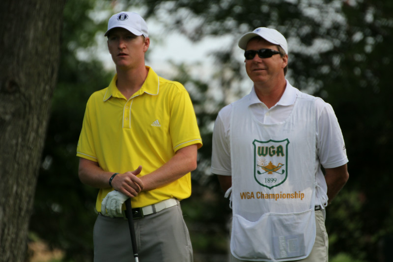 Jordan Niebrugge and his father Rod stand on the 11th tee during the first round of the 2014 Western Amateur.