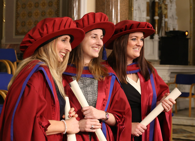 Pictured are Elaine Alyward, Kilkenny, Niamh Owens, Waterford, and Anne Marie Ivers, Kildare who were conferred a Doctor of Philosophy . Picture: Patrick Browne