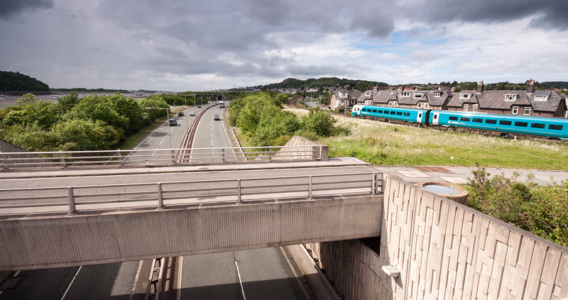 A55 road and Llandudno railway line