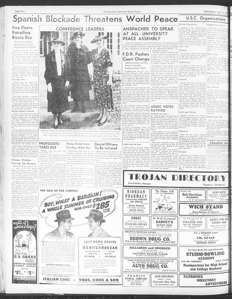 Daily Trojan, Vol. 28, No. 115, April 14, 1937