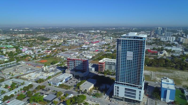 Aerial video Canvas Condominium Downtown Miami 4k 60p