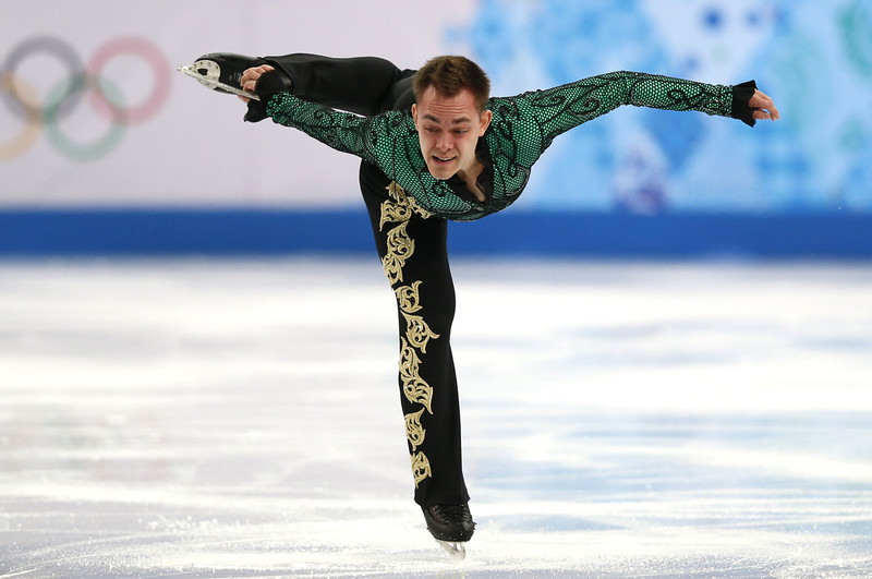 . Italy\'s Paul Bonifacio Parkinson performs during the Men\'s Figure Skating Team Short Program at the Iceberg Skating Palace during the Sochi Winter Olympics on February 6, 2014. (ADRIAN DENNIS/AFP/Getty Images)