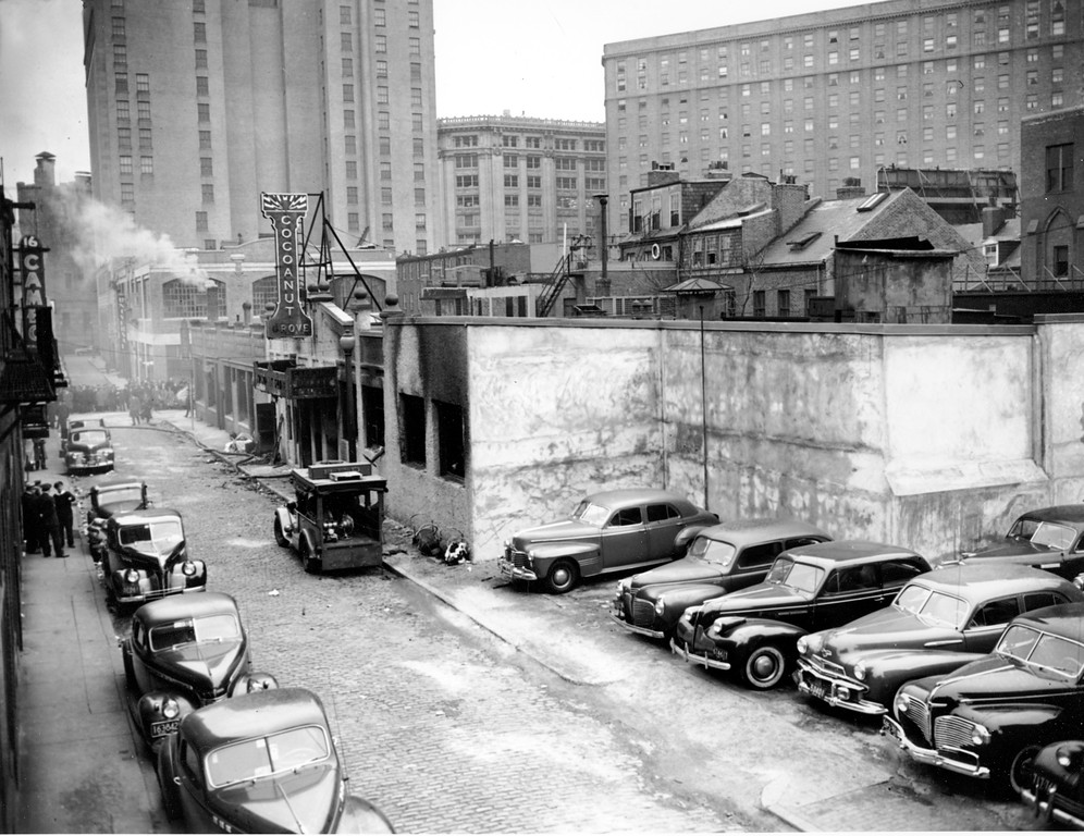 . Automobiles of the victims of the Cocoanut Grove Night Club fire remain parked in Boston, Mass., on Nov. 29, 1945.  (AP Photo)