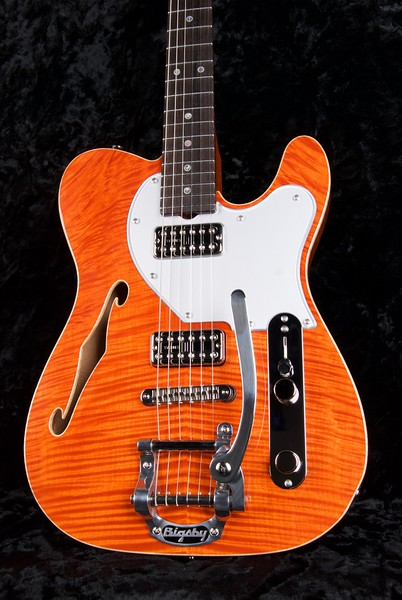 NOS-HT Thinline Reserve #3620, Mahogany with Flame Maple Top, Transparent Orange, TV Jones pickups