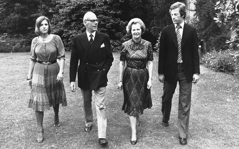 . Britainís Conservative Party leader, Mrs. Margaret Thatcher, takes a stroll through the grounds of Scotney Castle in Kent, England, where she is a tenant of a National Trust flat, with her husband Denis, and their twins Mark and Carol, in photographed in March 1979. Thatchers former spokesman, Tim Bell, said that the former British Prime Minister Margaret Thatcher died Monday morning, April 8, 2013, of a stroke.  She was 87. (AP Photo, File)