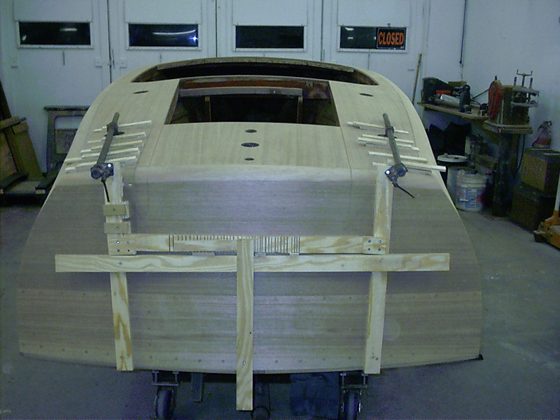 Transom router jig to route around cover board and transom.
