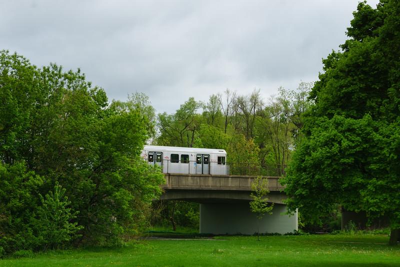 Subway Train Passing Through Tom Riley Park