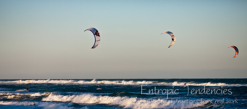 Kite suffers at Lennox Head near sunset