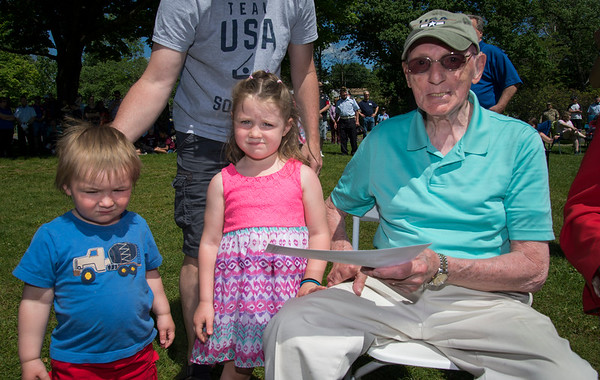 05/27/19 Wesley Bunnell | Staff Bristol held Memorial Day ceremonies on Monday morning ending with a ceremony which presented World War II veterans with All Heart Awards from the city. Antonio Benvenuto poses for photo with his great grandchildren Cyrus McNamara, age 1, and Margaret McNamara, age 3.