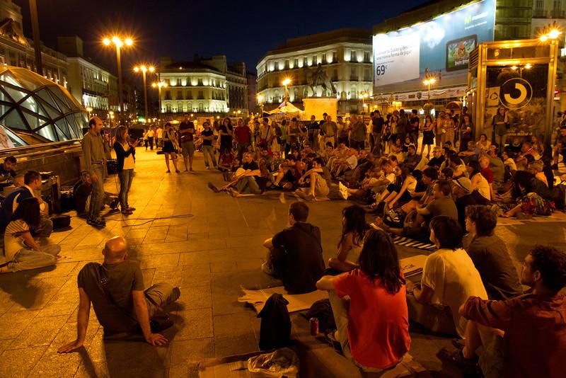 Protest rally at midnight, Puerta del Sol, Madrid