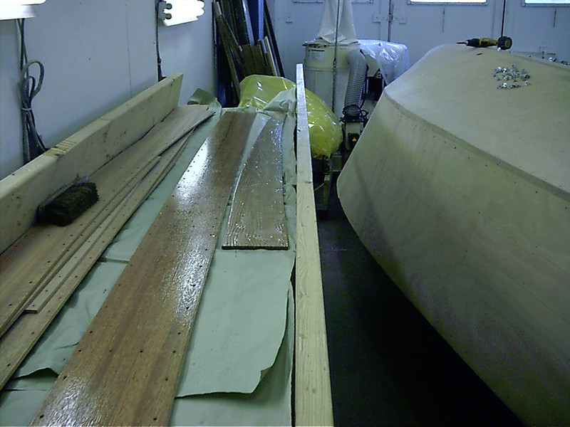Epoxy applied to planks.