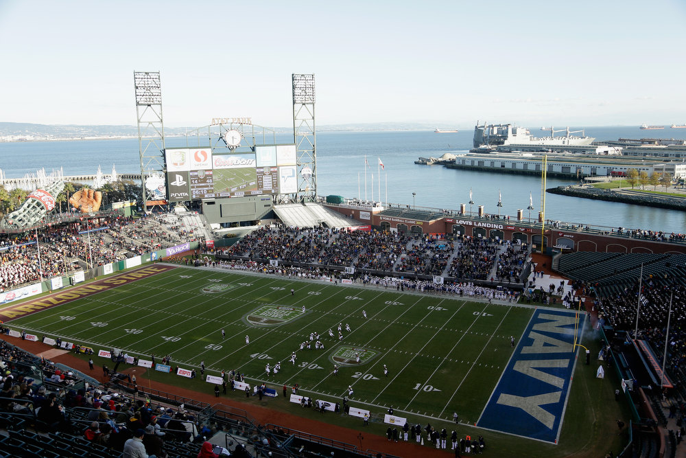 Description of . A general view during the Kraft Fight Hunger Bowl between the Arizona State Sun Devils and the Navy Midshipmen at AT&T Park on December 29, 2012 in San Francisco, California.  (Photo by Ezra Shaw/Getty Images)