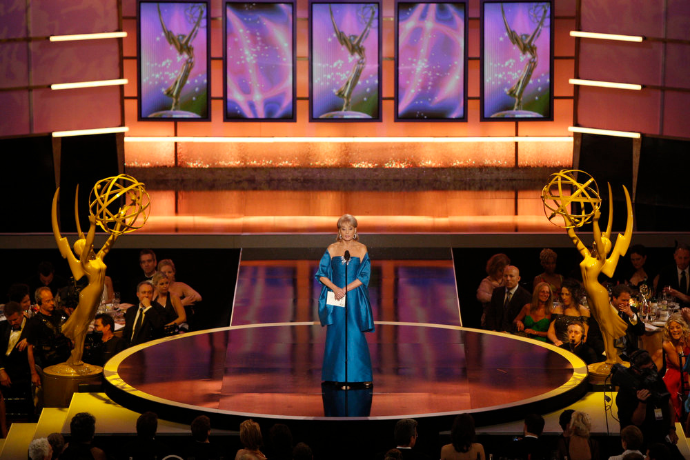 """. Barbara Walters presents the award for outstanding drama series to \""""General Hospital\"""" at the 35th Annual Daytime Emmy Awards in Los Angeles on Friday, June 20, 2008. (AP Photo/Matt Sayles)"""