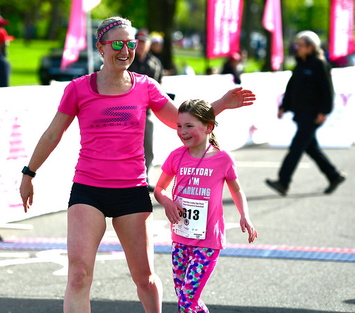5/11/2019 Mike Orazzi | Staff Erin Lopez and her daughter Lyla,7, after Lyla finished as the first girl in the kids mile race during the 16th annual Race in The Park held Saturday in New Britain.