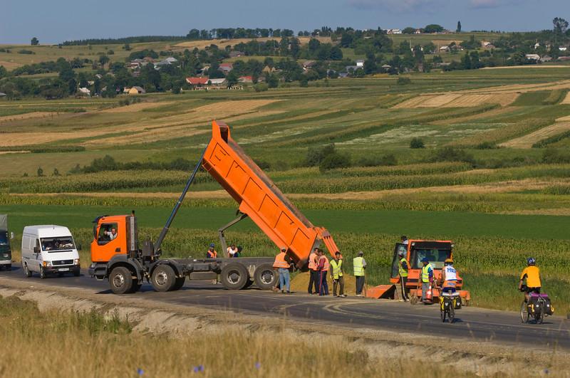 Roadworks on E 576 near Suceava, Moldavia, Romania