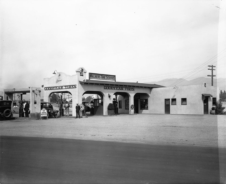 Walker's Tire Service and gas station, ca.1920-1929