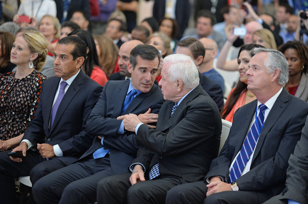 . At LAX, dignitaries gathered to open the new Tom Bradley International Terminal. Current Mayor Eric Garcetti, center, chat with former Mayor Dick Riordan. Former Mayors Antonio Villaraigosa and James Hahn seated beside. (Wed. Sept 18, 2013 Photo by Brad Graverson/The Daily Breeze
