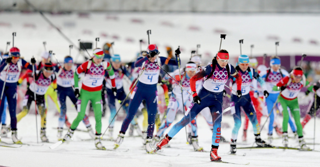 . Athletes in action during the Women\'s 12,5km Mass Start competition at the Laura Cross Biathlon Center during the Sochi 2014 Olympic Games, Krasnaya Polyana, Russia, 17 February 2014.  EPA/ARMANDO BABANI