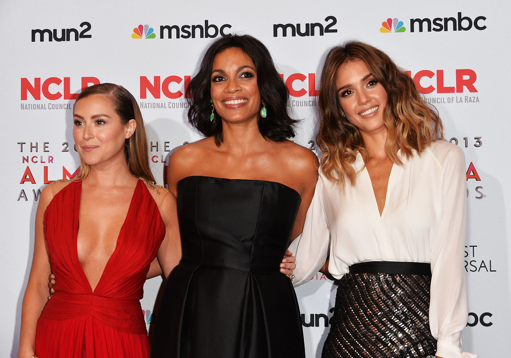 . PASADENA, CA - SEPTEMBER 27:  Actors Alexa Vega, Rosario Dawson and Jessica Alba attend the Winner\'s Walk during the 2013 NCLR ALMA Awards at Pasadena Civic Auditorium on September 27, 2013 in Pasadena, California.  (Photo by Alberto E. Rodriguez/Getty Images for NCLR)