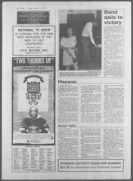 Daily Trojan, Vol. 106, No. 24, February 12, 1988