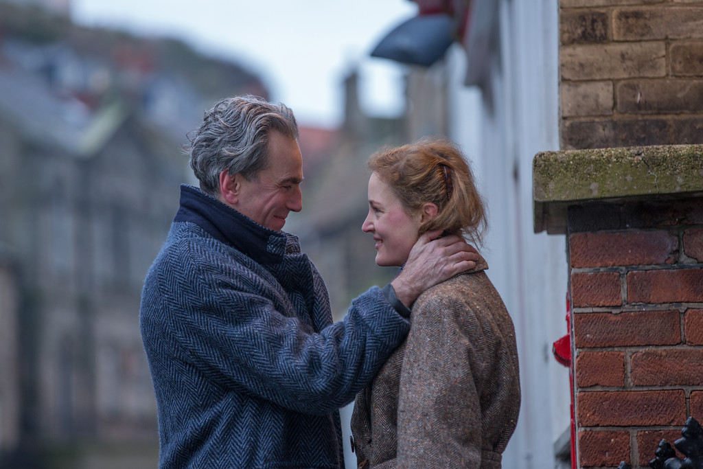 ". Daniel Day-Lewis stars as Reynolds Woodcock and Vicky Krieps stars as Alma ""Phantom Thread.\"" The movie is in theaters Jan. 19. (Focus Features)"