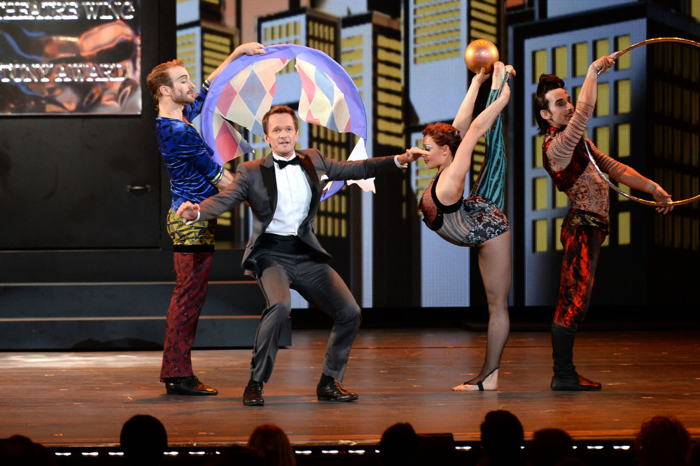 . Host Neil Patrick Harris and actors perform onstage at The 67th Annual Tony Awards at Radio City Music Hall on June 9, 2013 in New York City.  (Photo by Andrew H. Walker/Getty Images for Tony Awards Productions)