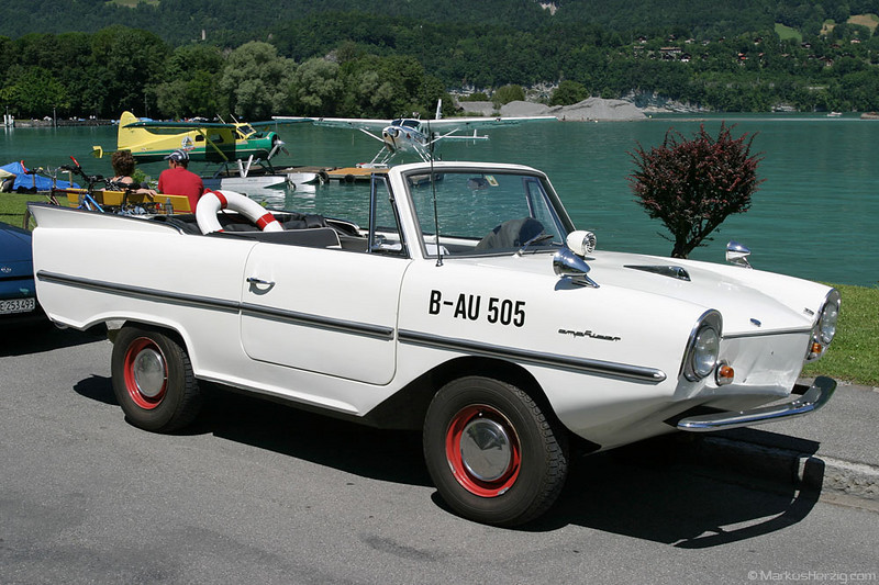 Amphicar on the lakefront @ Boenigen Switzerland 3Jul05