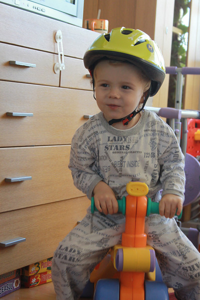 For now, in the house, high security measurements needed, Joshua goes by tricicle and helmet to order pizza!