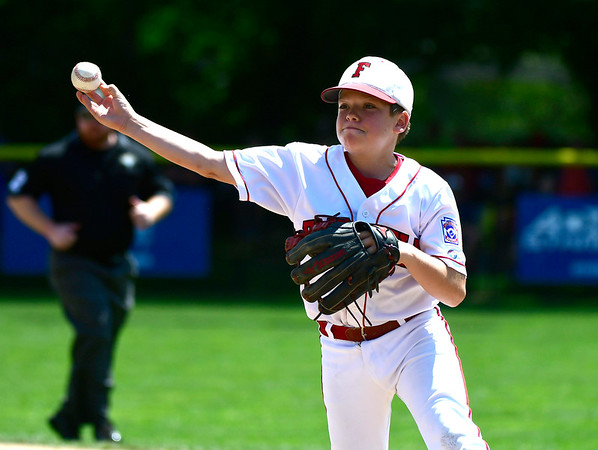8/9/2018 Mike Orazzi | Staff Fairfield American Little League's Liam Grady (7) Thursday at Breen Field in Bristol.
