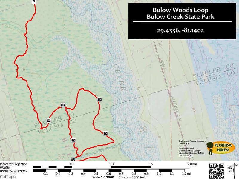 Bulow Woods Loop Trail Map