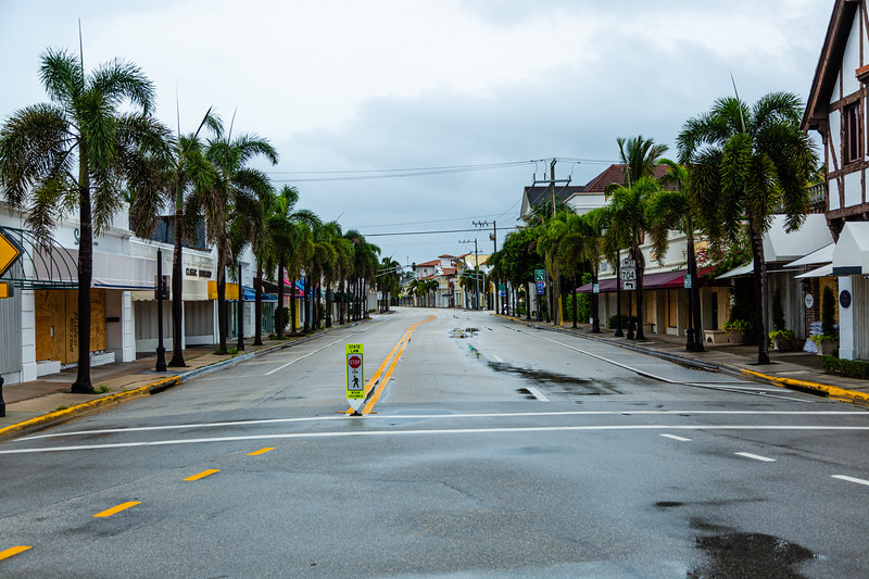 South County Road in Palm Beach is deserted ahead of Hurricane Dorian side-swiping Florida's east coast on Labor Day, Monday, September 2, 2019. [JOSEPH FORZANO/palmbeachpost.com]