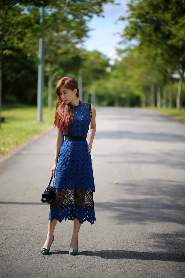 self portrait teal lace dress