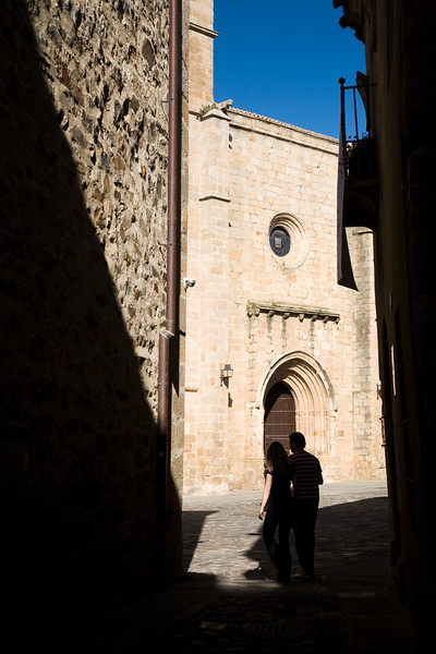 The Cathedral at the end of a narrow street, Caceres, Spain