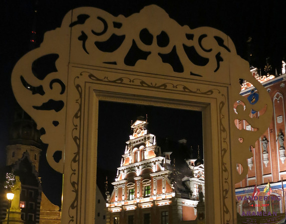 Riga's House of Blackheads, as seen through one of the mega-frames in town