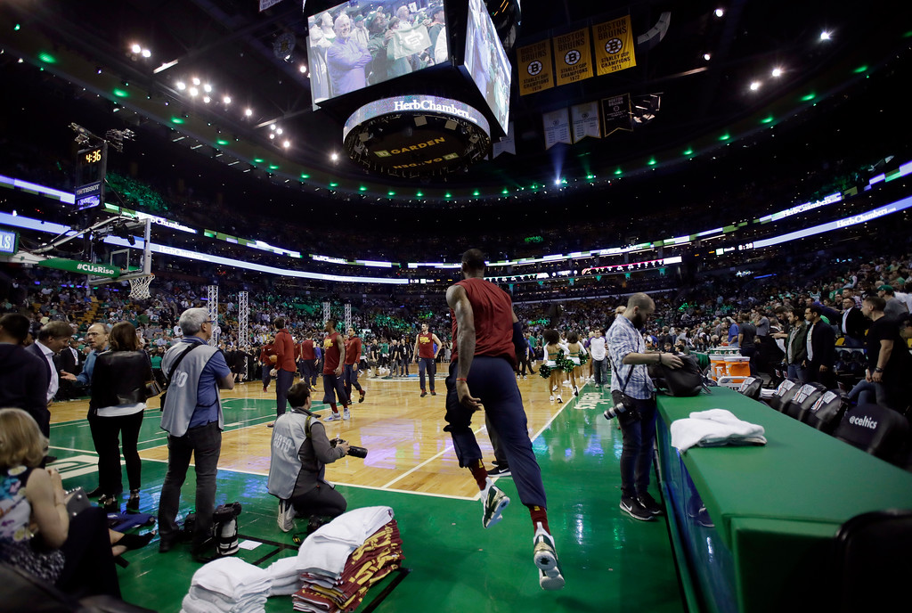 . Cleveland Cavaliers forward LeBron James runs onto the court before Game 2 of the NBA basketball Eastern Conference finals against the Boston Celtics, Tuesday, May 15, 2018, in Boston. (AP Photo/Charles Krupa)