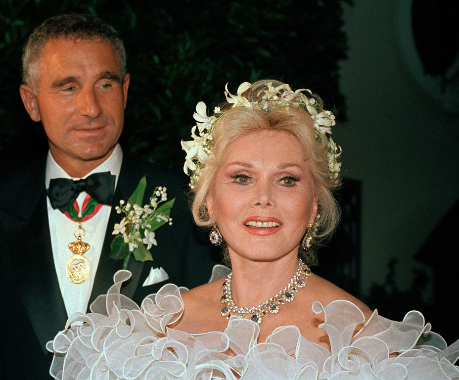 . Actress Zsa Zsa Gabor appears with her eighth husband, Prince Frederic von Anhalt of Munich, on their wedding day in Los Angeles, Aug. 15, 1986. Zsa Zsa Gabor can celebrate her 90th birthday on Tuesday, Feb. 6, 2007. (AP Photo)