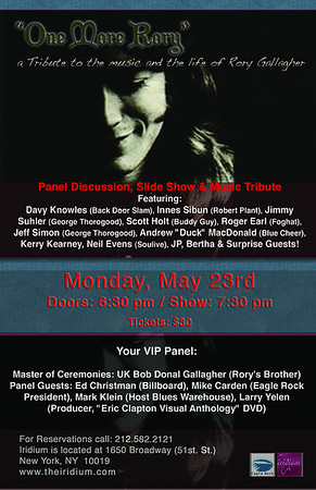 Rory Gallagher Tribute at the Irridium May 23