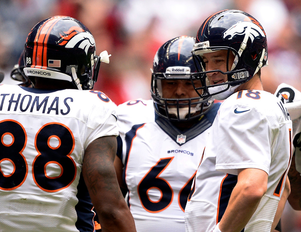 . Denver Broncos quarterback Peyton Manning (18) chats with Denver Broncos wide receiver Demaryius Thomas (88) in the huddle during the first quarter against the Houston Texans December 22, 2013 at Reliant Stadium. (Photo by John Leyba/The Denver Post)