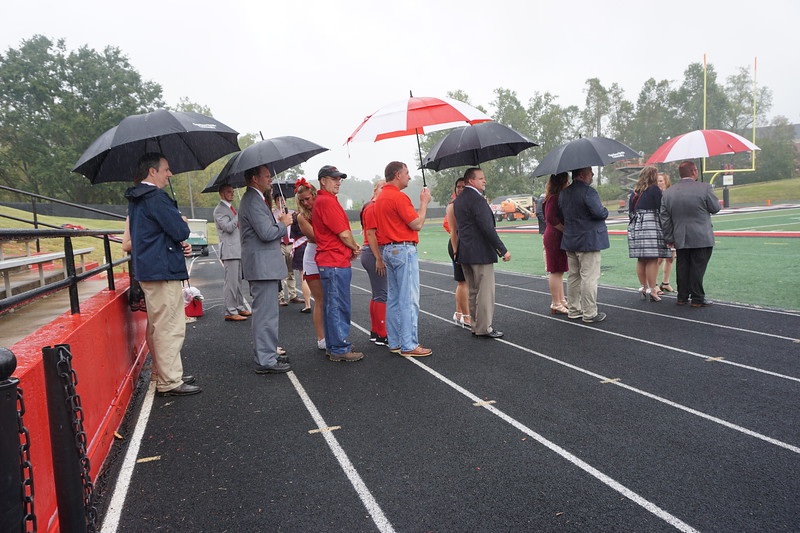 Homecoming Court nominees waited in line to walk onto the field.