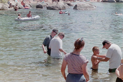Garricks Baptism Sand Harbor Lake Tahoe 1998 or 1999