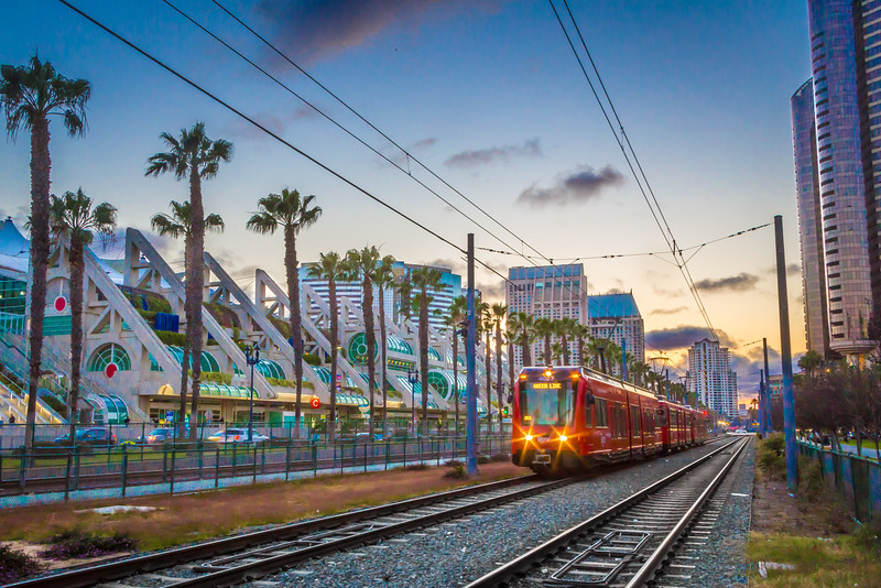 San Diego Convention Center and Trolley at Sunset