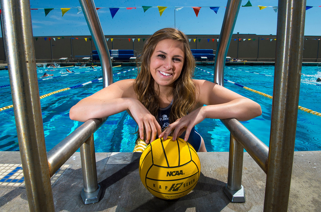 . Kristen Jensen of Los Osos High School, is the Player of the Year and has been named to The Sun\'s All-Valley Girl\'s water polo team. Photo by Frank Perez, for The Sun.