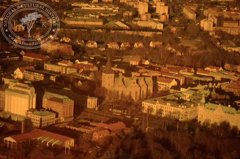 Central Kristianstad with church. Experimentally photographed with yellow filter (19 November, 1988). | LH.0241