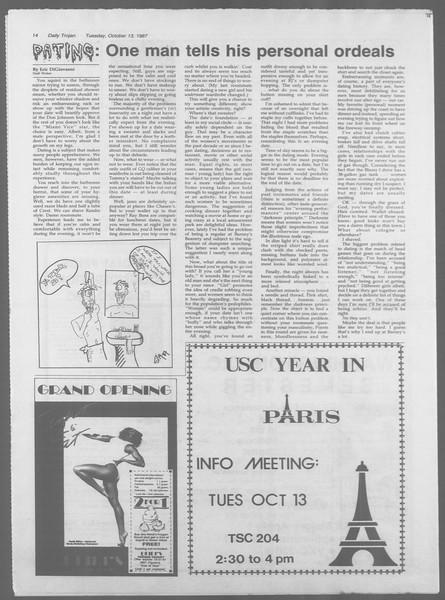 Daily Trojan, Vol. 105, No. 28, October 13, 1987