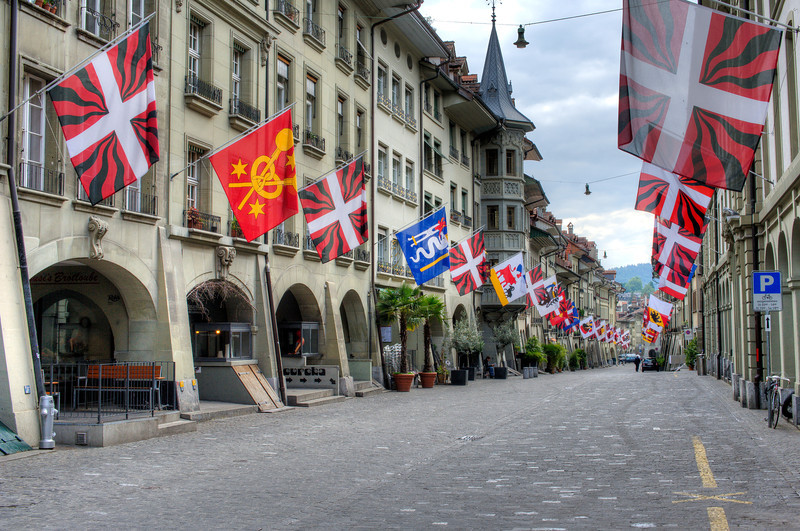 Street scene in Marktgasse in Bern, Switzerland