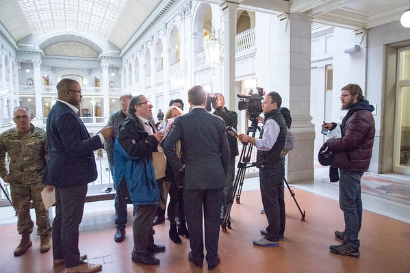 01/10/20 Wesley Bunnell | StaffrrGovernor Ned Lamont faces several television cameras after a press conference on Friday afternoon. Senator Richard Blumenthal along with Governor Ned Lamont, Hartford Mayor Luke Bronin, Lt. Gov. Susan Bysiewicz, other government officials and community activists mets at Hartford City Hall on Friday afternoon to discuss how to help Puerto Rico after a series of earthquakes recently. The Senator called for fair and affordable prices on airline tickets leaving Puerto Rico which have skyrocketed in price. Others noted the Trump administrations failure to release federal funding already designated for relief efforts two years ago after Hurricane Maria.