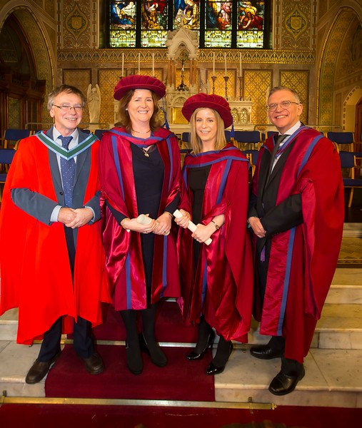 06/01/2015. FREE TO USE IMAGE. WIT (Waterford Institute of Technology) Conferring. Pictured are Annette Cullen-Murphy, Kilmeaden, Waterford and Claire O'Gorman, Cahir, Co. Tipperary who were conferred a Doctor of Philosophy also pictured are Prof Willie Donnelly WIT and Dr. John Wells WIT.  Picture: Patrick Browne