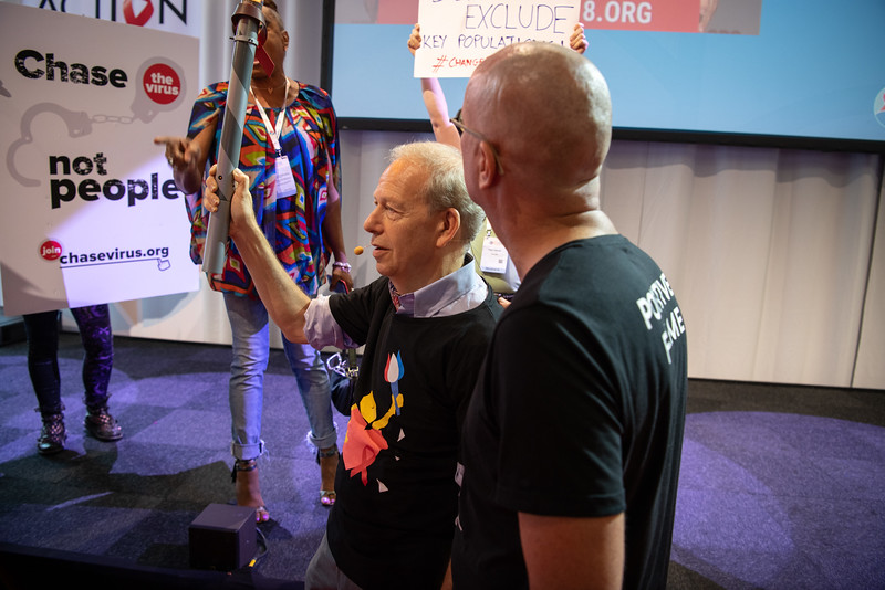 22nd International AIDS Conference (AIDS 2018) Amsterdam, Netherlands.   Copyright: Steve Forrest/Workers' Photos/ IAS  Photo shows: The Lighting of The Positive Flame in The Global Village.