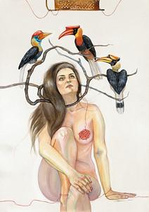 """Red thread"" (watercolor) by Olga Berntal"